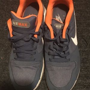 Size 13 orange and dark gray Nike's